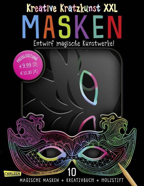 Kreative Kratzkunst XXL: Masken: Set mit 10 Kratz-Masken, Anleitungsbuch und Holzstift