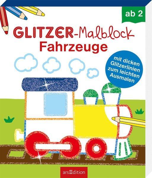 Glitzer-Malblock Fahrzeuge - mit dicken Glitzerlinien zum leichten Ausmalen
