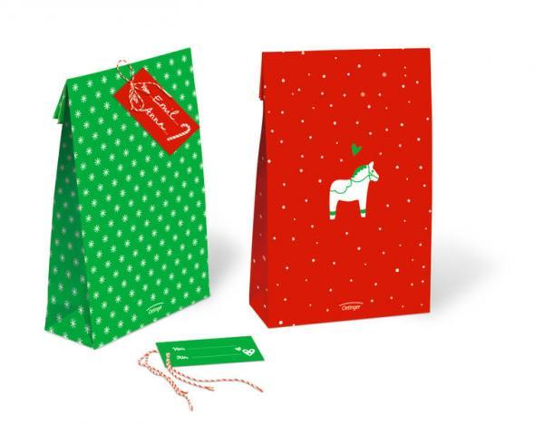 Weihnachtliches Geschenktüten-Set inkl. Anhänger und Bändchen