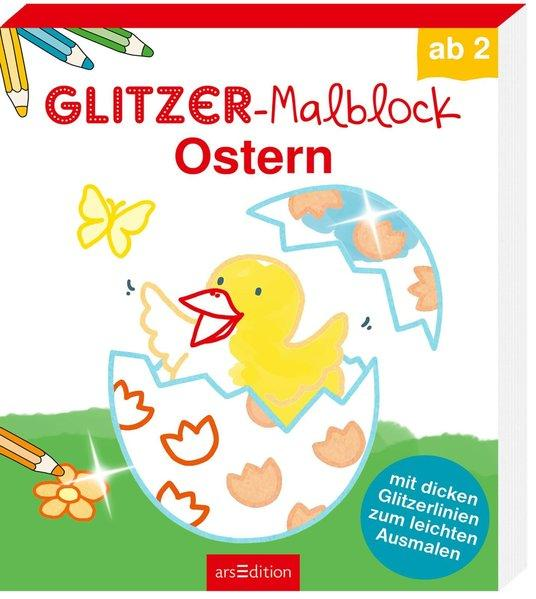 Glitzer-Malblock Ostern - mit dicken Glitzerlinien zum leichten Ausmalen (Mängelexemplar)