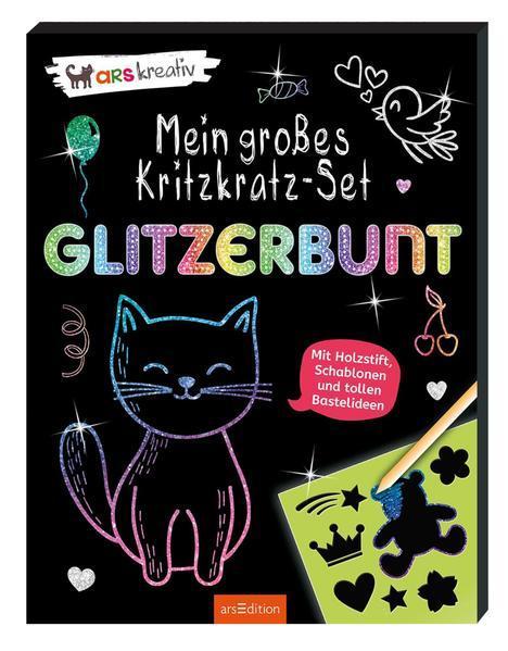Mein großes Kritzkratz-Set - Glitzerbunt - Mit Holzstift, Schablonen und tollen Bastelideen