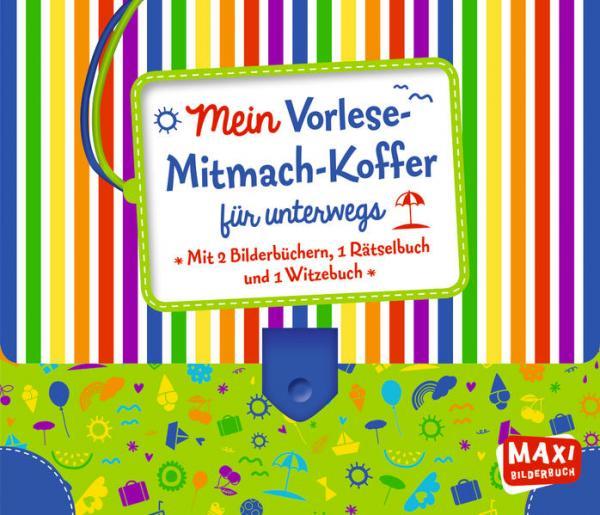 Mein Vorlese-Mitmach-Koffer für unterwegs: 2 Bilderbücher + 1 Rätselbuch + 1 Witzebuch