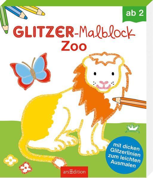Glitzer-Malblock Zoo - mit dicken Glitzerlinien zum leichten Ausmalen