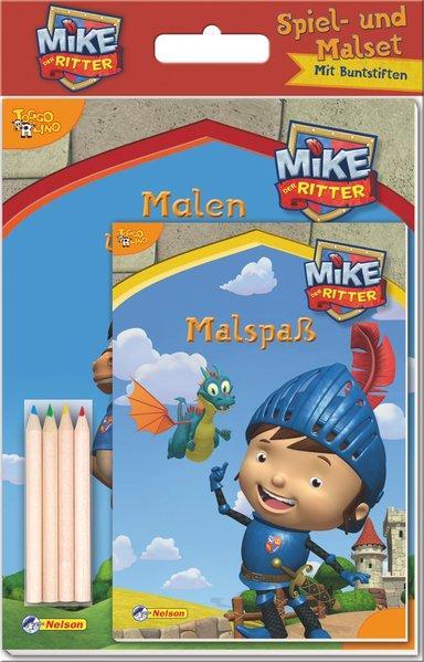 Mike der Ritter, Spiel- und Malset - Malbuch & Beschäftigungsbuch + 4 Buntstifte (Mängelexemplar)