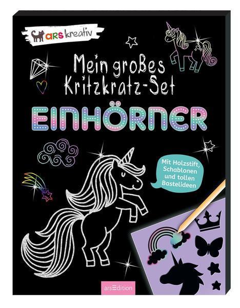 Mein großes Kritzkratz-Set - Einhörner - Mit Holzstift, Schablonen und tollen Bastelideen