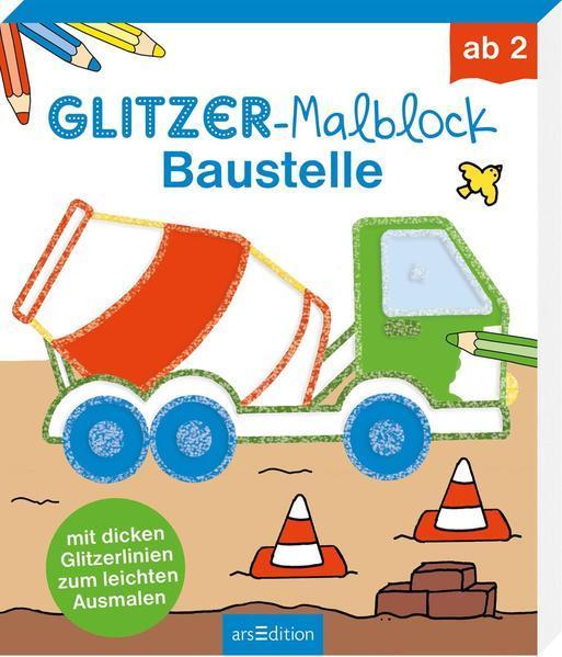 Glitzer-Malblock Baustelle - mit dicken Glitzerlinien zum leichten Ausmalen