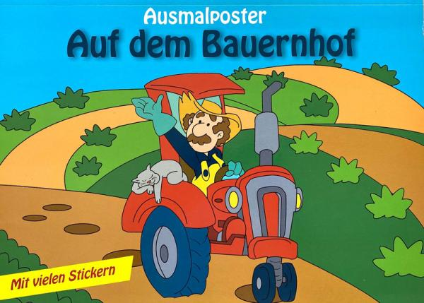 Ausmalposter: Auf dem Bauernhof - mit vielen Stickern (Mängelexemplar)
